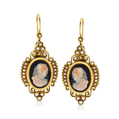C. 1920 Vintage Black Agate Cameo Drop Earrings with Seed Pearl in 14kt Yellow Gold