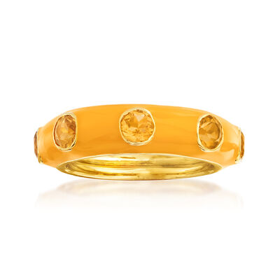 1.50 ct. t.w. Citrine and Yellow Enamel Ring in 18kt Gold Over Sterling, , default