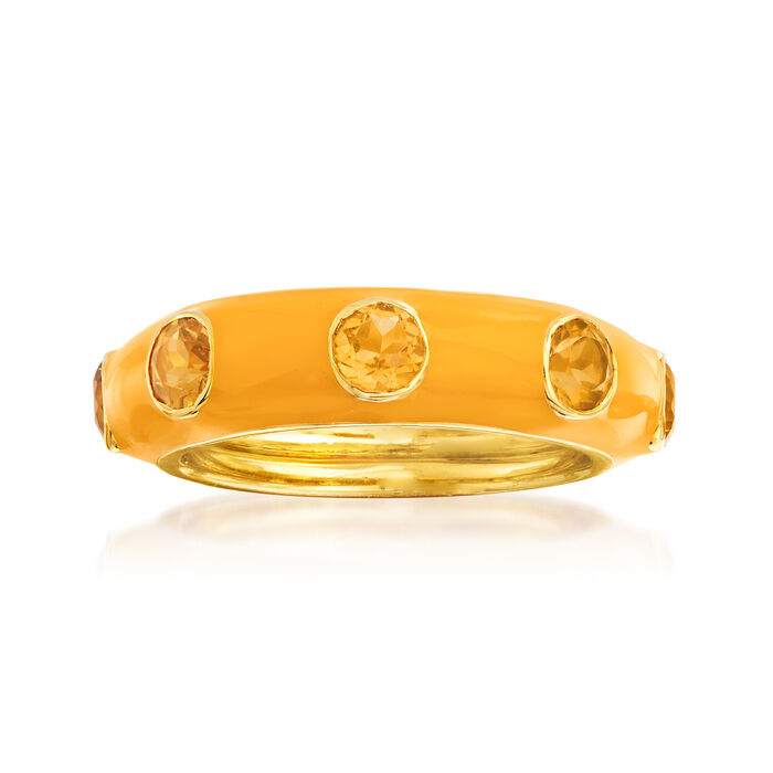 1.50 ct. t.w. Citrine and Yellow Enamel Ring in 18kt Gold Over Sterling
