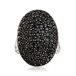 3.00 ct. t.w. Black Spinel Oval Ring in Sterling Silver, , default