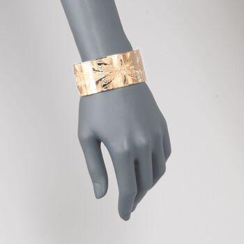 """C. 1940 Vintage 18kt Two-Tone Gold Floral Engraved Bracelet. 7.75"""", , default"""