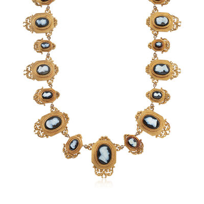 C. 1940 Vintage Agate Multi-Cameo Necklace in 18kt Yellow Gold, , default