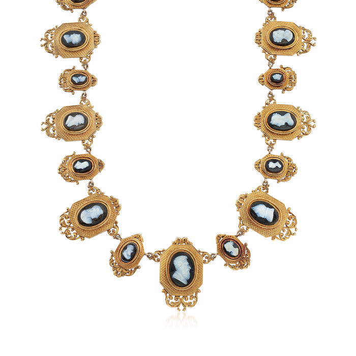 """C. 1940 Vintage Agate Multi-Cameo Necklace in 18kt Yellow Gold. 16"""""""