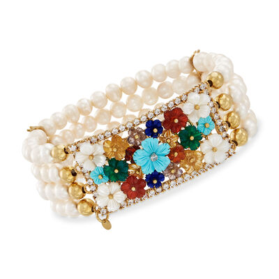 5.5-6mm Cultured Pearl, Mother-Of-Pearl and Multi-Gem Floral Stretch Bracelet in 18kt Gold Over Sterling, , default