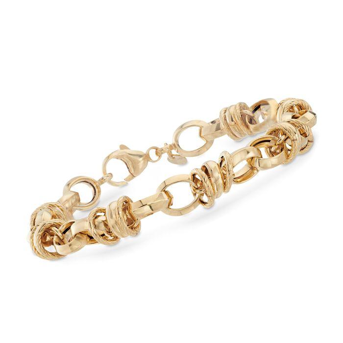"Italian 14kt Yellow Gold Round Link Bracelet. 8.25"", , default"