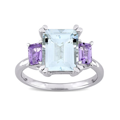 3.00 Carat Aquamarine and .60 ct. t.w. Amethyst Ring in Sterling Silver
