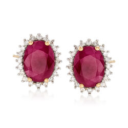 2.40 ct. t.w. Ruby and .24 ct. t.w. Diamond Stud Earrings in 14kt Yellow Gold, , default
