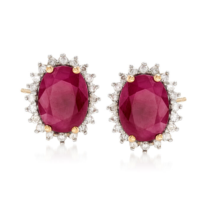 2.40 ct. t.w. Ruby and .24 ct. t.w. Diamond Stud Earrings in 14kt Yellow Gold