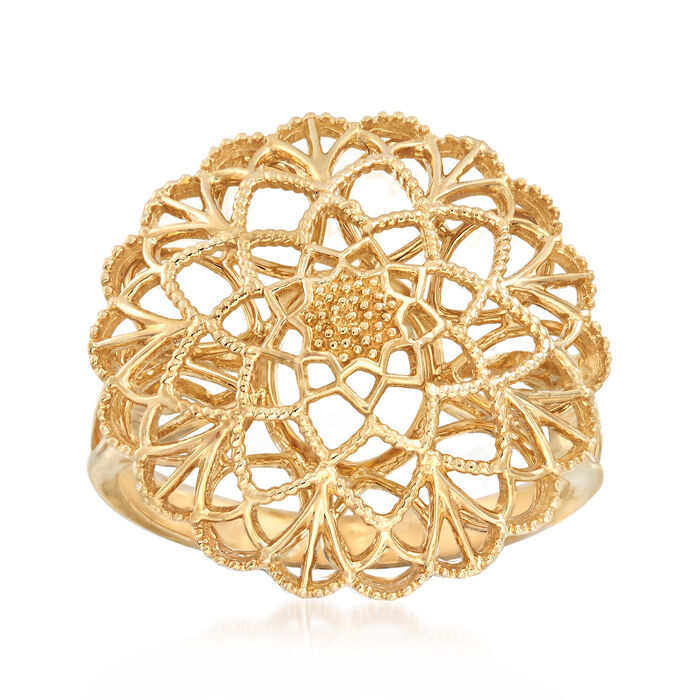 14kt Yellow Gold Floral Cutout Ring, , default