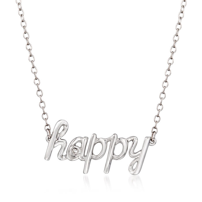 """Sterling Silver """"Happy"""" Necklace with Diamond Accents"""