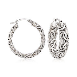 "Sterling Silver Small Byzantine Hoop Earrings. 1"", , default"