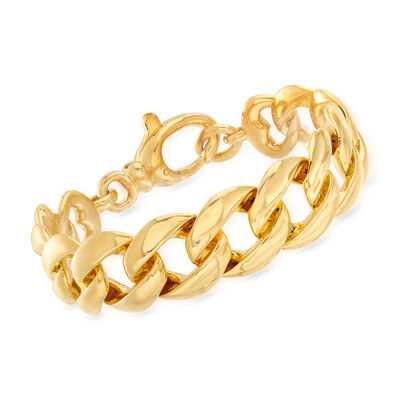 Italian Andiamo Curb-Link Bracelet in 14kt Yellow Gold Over Resin, , default