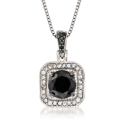 1.00 ct. t.w. Black and White Diamond Halo Pendant Necklace in Sterling Silver