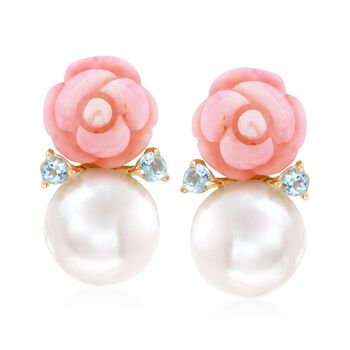 12-12.5mm Cultured Pearl and Pink Coral Rose Earrings With Blue Topaz in 14kt Gold Over Sterling, , default