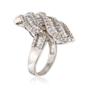 C. 1980 Vintage 3.30 ct. t.w. Diamond Swirl Ring in 14kt White Gold. Size 9, , default