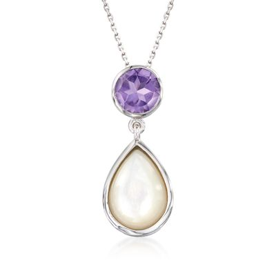 Mother-Of-Pearl and 1.80 Carat Amethyst Pendant Necklace in Sterling Silver, , default