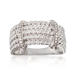 .10 ct. t.w. Diamond Rope-Textured Bar Ring in Sterling Silver, , default