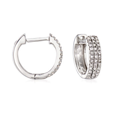 .14 ct. t.w. Diamond Huggie Hoop Earrings in 14kt White Gold, , default
