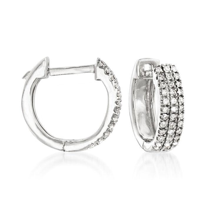 """.14 ct. t.w. Diamond Huggie Hoop Earrings in 14kt White Gold. 3/8"""""""