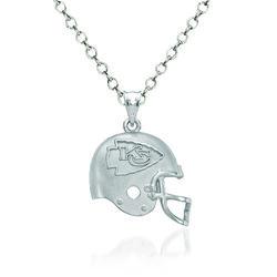 "Sterling Silver Kansas City Chiefs Football Helmet Logo Pendant Necklace. 18"", , default"