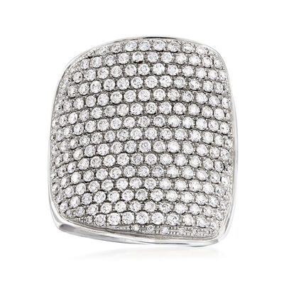 3.45 ct. t.w. Pave Diamond Concave Ring in 14kt White Gold, , default