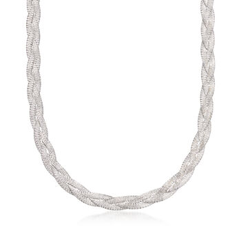 "Italian Sterling Silver Braided Necklace. 18"", , default"