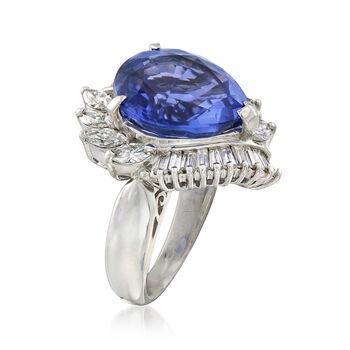 C. 1980 Vintage 8.71 Carat Tanzanite and 1.60 ct. t.w. Diamond Ring in Platinum. Size 6.5