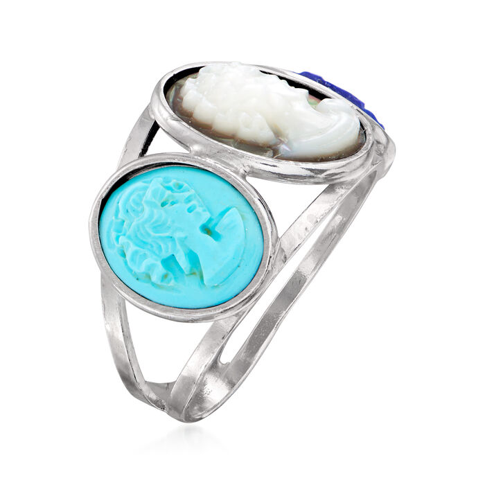Italian Multi-Gemstone Cameo Ring in Sterling Silver