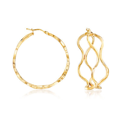 Italian 14kt Yellow Gold Curved Openwork Hoop Earrings