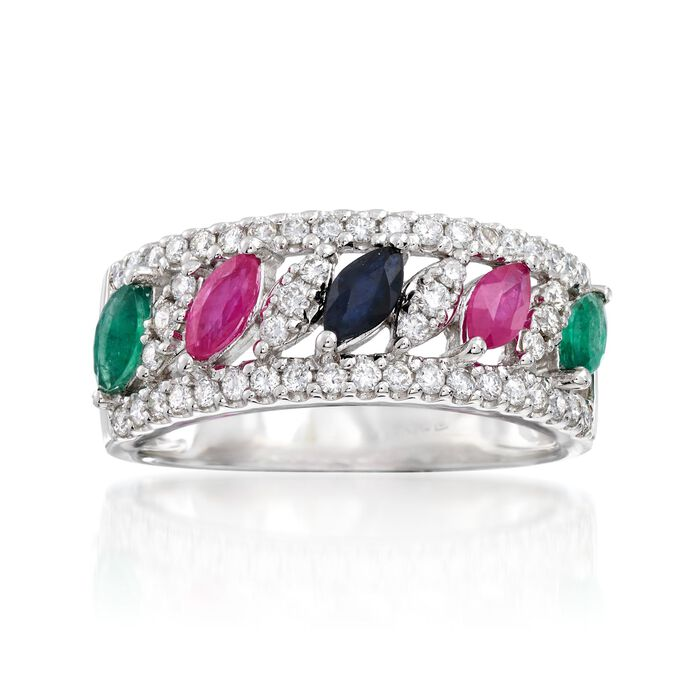 .70 ct. t.w. Multi-Stone and .46 ct. t.w. Diamond Ring in 14kt White Gold, , default