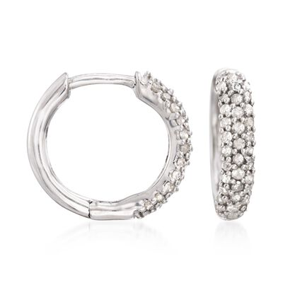 .34 ct. t.w. Pave Diamond Huggie Hoop Earrings in Sterling Silver, , default