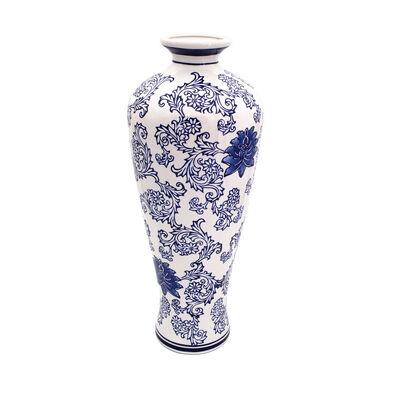 "Euro Ceramica ""Blue Garden"" Lotus Vase, , default"