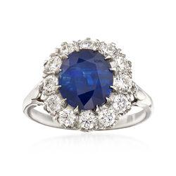3.84 Carat Sapphire and 1.00 ct. t.w. Diamond Ring in Platinum, , default