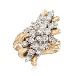 C. 1980 Vintage 2.20 ct. t.w. Diamond Cluster Ring in 14kt Yellow Gold, , default