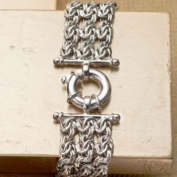 Italian Sterling Silver Three-Strand Byzantine Bracelet, , default