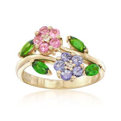 .93 ct. t.w. Multi-Stone Flower Ring in 18kt Yellow Gold Over Sterling, , default