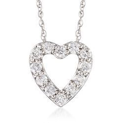 ".24 ct. t.w. Diamond Heart Necklace in 14kt White Gold. 18"", , default"