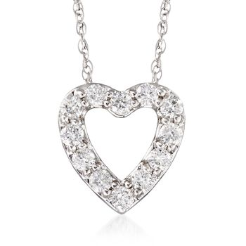 """.24 ct. t.w. Diamond Heart Necklace in 14kt White Gold. 18"""", , default"""
