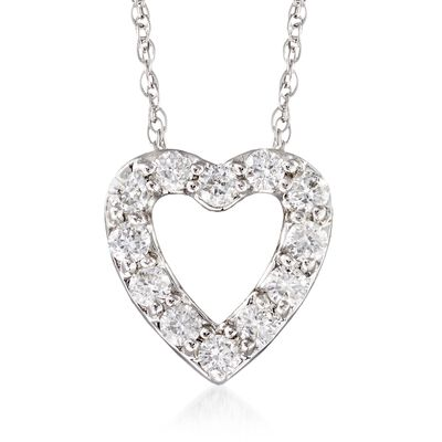 .24 ct. t.w. Diamond Heart Necklace in 14kt White Gold, , default