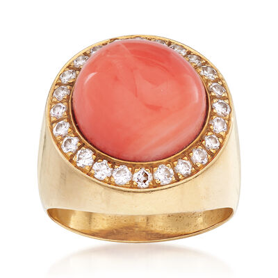 C. 1980 Vintage Round Coral and .60 ct. t.w. Diamond Ring in 14kt Yellow Gold, , default