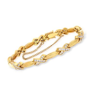 C. 1980 Vintage 1.75 ct. t.w. Diamond X Bracelet in 18kt Yellow Gold, , default