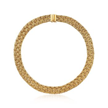 "C. 1960 Vintage 18kt Yellow Gold Basketweave Necklace. 16"", , default"