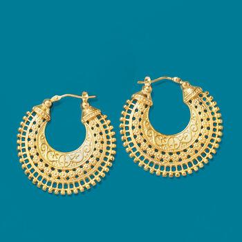 "Italian 18kt Gold Over Sterling Embellished Hoop Earrings. 1 3/8"""