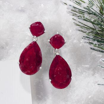 26.50 ct. t.w. Opaque Ruby Drop Earrings in Sterling Silver