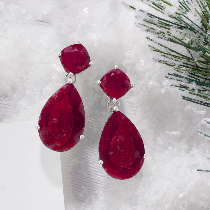 26.50 ct. t.w. Opaque Ruby Drop Earrings in Sterling Silver