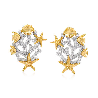 .15 ct. t.w. Diamond Sea Life Earrings in Sterling Silver and 18kt Gold Over Sterling