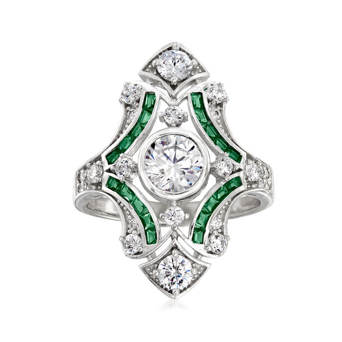 1.55 ct. t.w. CZ and .20 ct. t.w. Simulated Emerald Ring in Sterling Silver