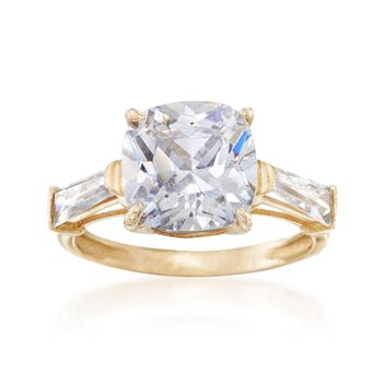 6.50 ct. t.w. Cushion-Cut and Baguette CZ Ring in 14kt Yellow Gold, , default