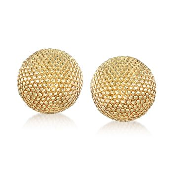 Italian 18kt Yellow Gold Over Sterling Beaded Dome Earrings, , default