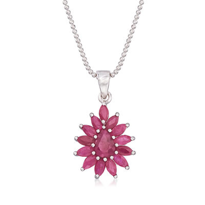 2.60 ct. t.w. Ruby Cluster Pendant Necklace in Sterling Silver